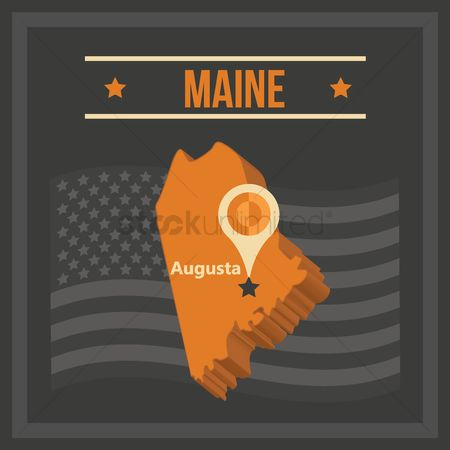 Capital city : Map of maine state