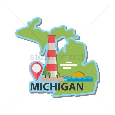The great lake : Map of michigan state