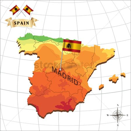 Nationality : Map of spain with madrid