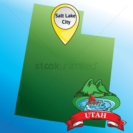 Utah map : Map of utah state with salt lake