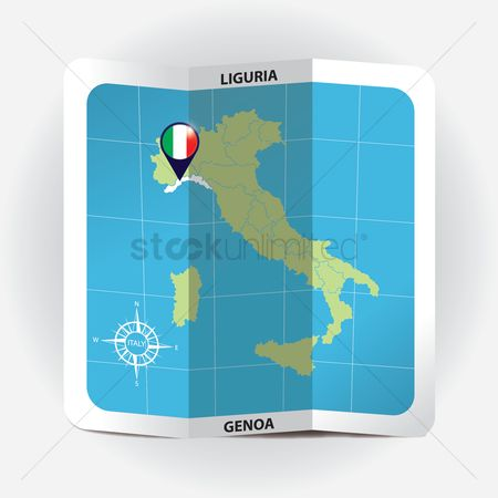 Highlights : Map pointer indicating liguria on italy map