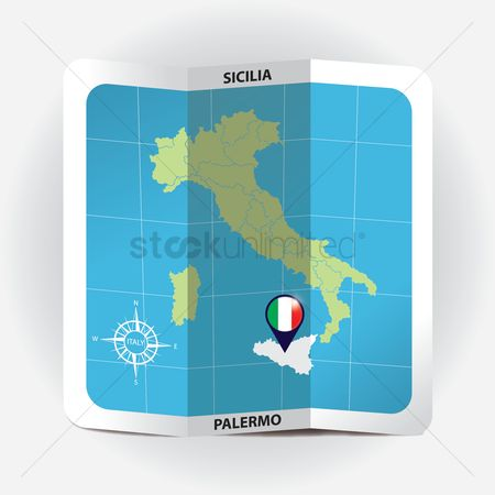 Highlights : Map pointer indicating sicilia on italy map
