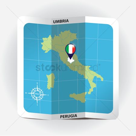 Highlights : Map pointer indicating umbria on italy map