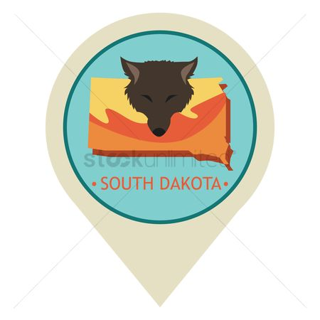 Navigators : Map pointer with south dakota state