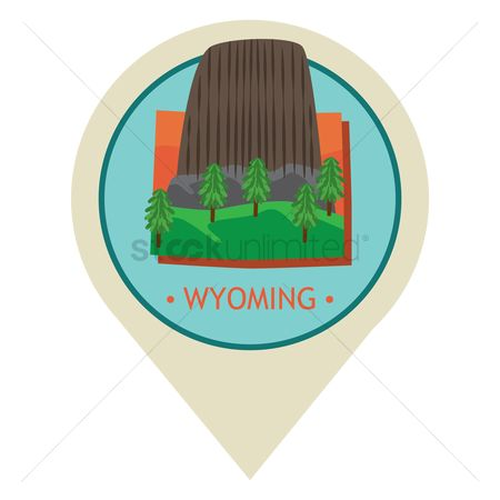Navigators : Map pointer with wyoming state