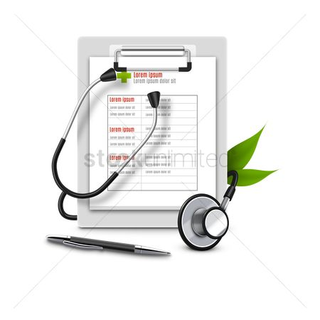 Medical : Medical report with stethoscope and pen