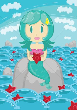Starfishes : Mermaid sitting on a rock