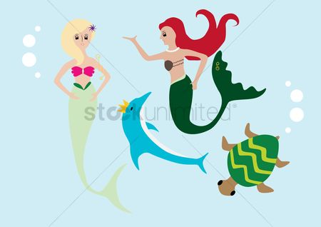 Dolphins : Mermaids with dolphin and tortoise