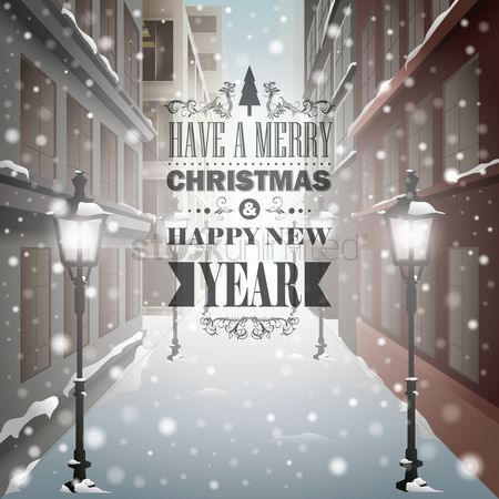 Buildings : Merry christmas and happy new year message