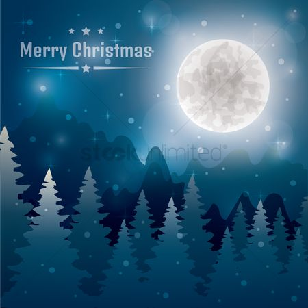 Moon : Merry christmas background