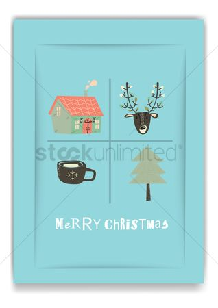 Chimneys : Merry christmas design
