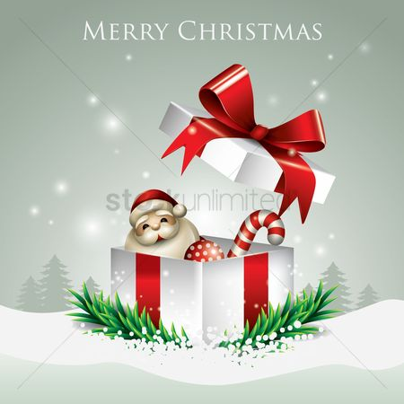 Santa : Merry christmas with gift box
