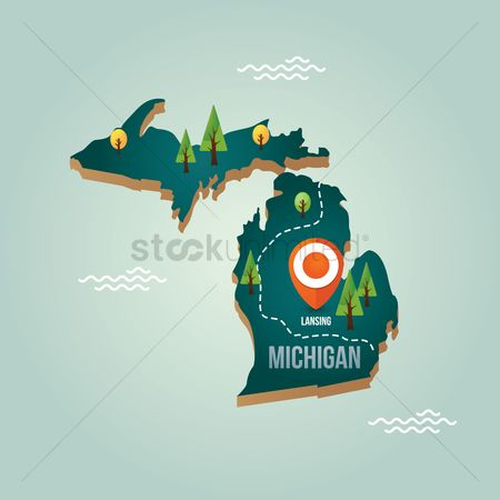 Capitals : Michigan map with capital city