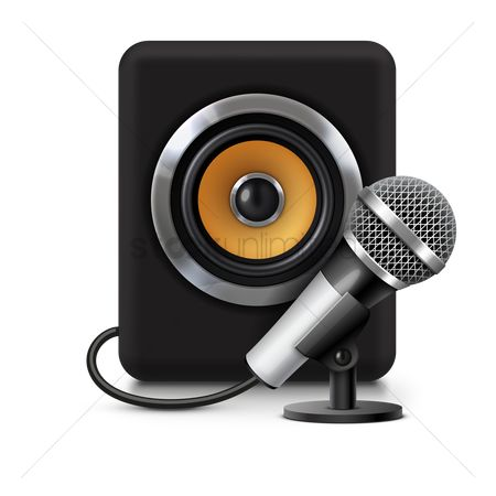Microphones : Microphone connected to speaker