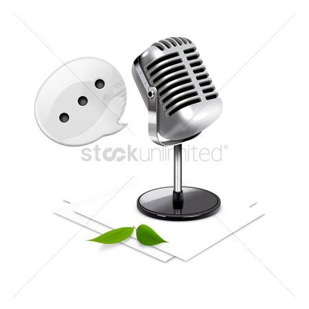 Microphones : Microphone with speech bubble and paper