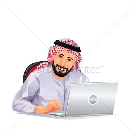 East : Middle eastern businessman working in the office