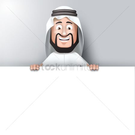 East : Middle eastern man with blank board