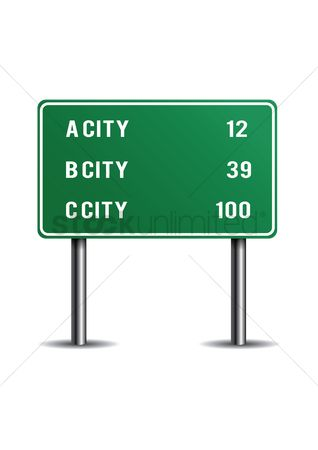 Caution : Mileage signs for highway routes