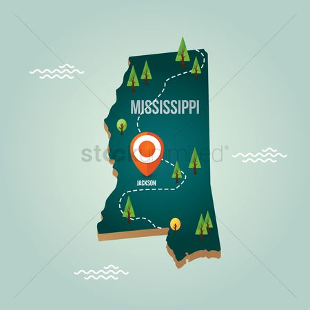 Capital city : Mississippi map with capital city