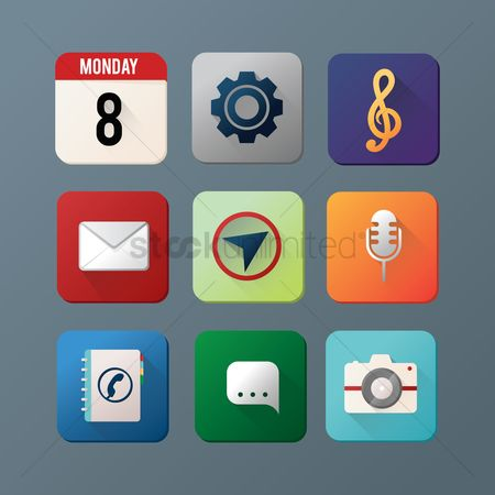 Microphones : Mobile app icon set