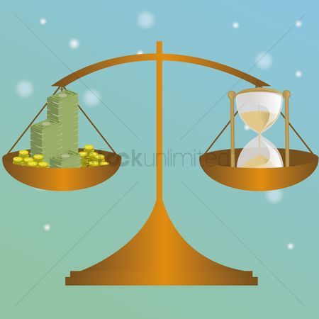 Common balance : Money and hourglass in balance