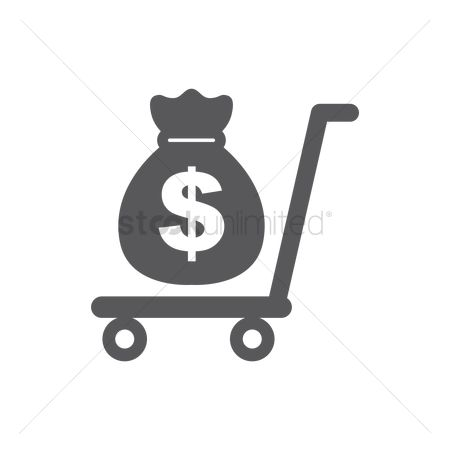 Sack : Money bag on a trolley
