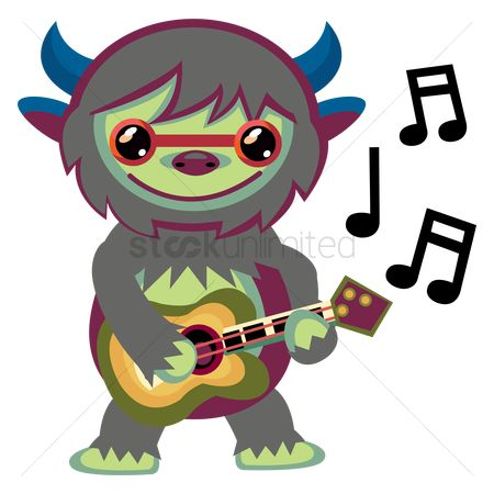 Horned : Monster playing a guitar