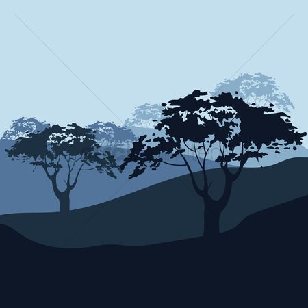 Mountains : Mountains and trees landscape