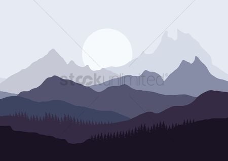 Moon : Mountains landscape