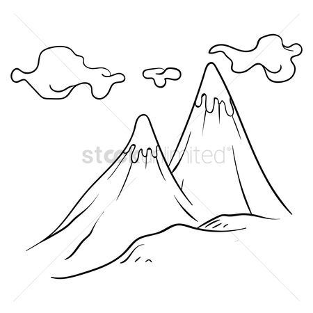 Mountain Line Art Drawing