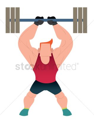 Strength exercise : Muscular man lifting a barbell
