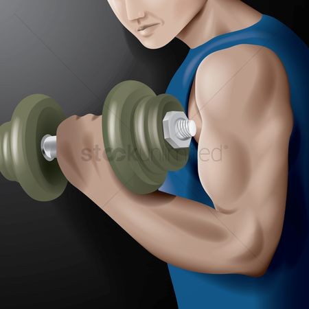 Strength exercise : Muscular man lifting a dumbbell