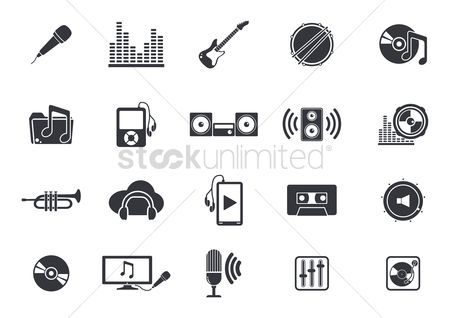 Musicals : Musical instruments and media player icons
