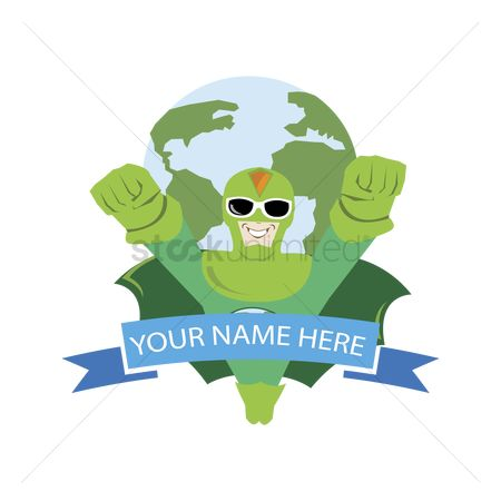 Heroes : Name tag with superhero and earth