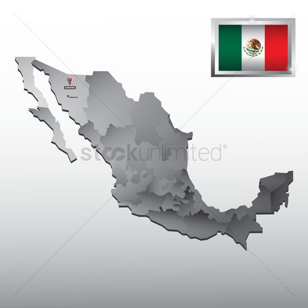 Tricolored : Navigation pointer indicating sonora on mexico map