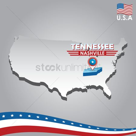 Tennessee : Navigation pointer indicating tennessee on usa map