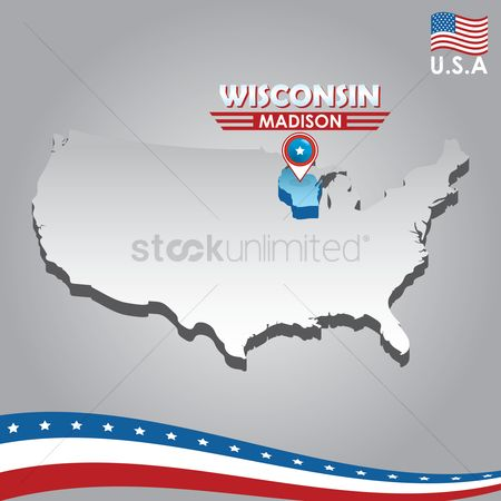 Capital city : Navigation pointer indicating wisconsin on usa map
