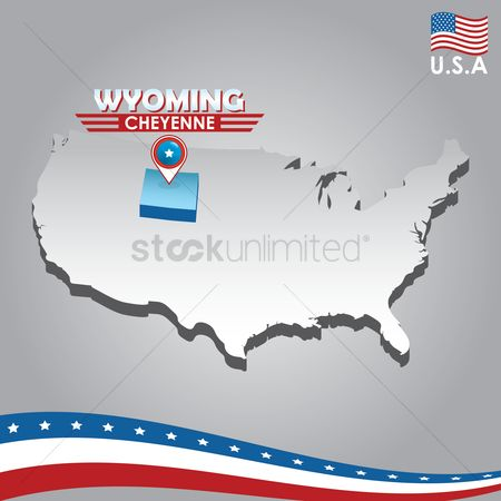 Capital city : Navigation pointer indicating wyoming on usa map