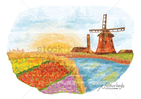 Field of flowers : Netherlands painting