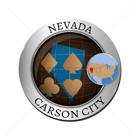 Capital city : Nevada state with poker card badge