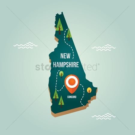 Capital city : New hampshire map with capital city