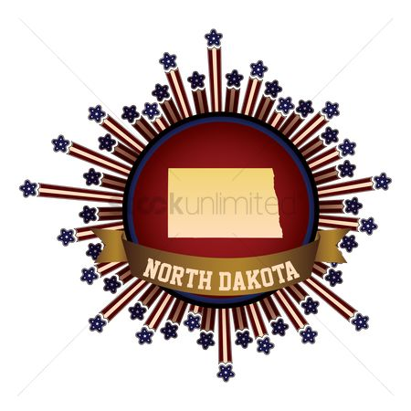 Dakota : North dakota state button with banner