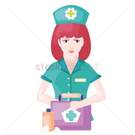 Hospital : Nurse with first aid kit