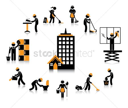 Workers : Office building workers concept