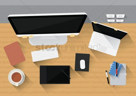 Coffee cups : Office desk with computer  gadgets and stationery