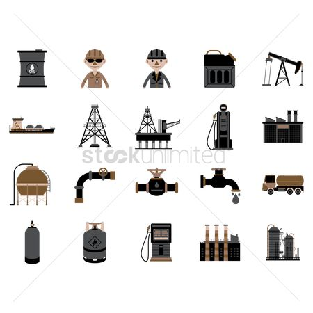 Tanks : Oil and gas industrial icons