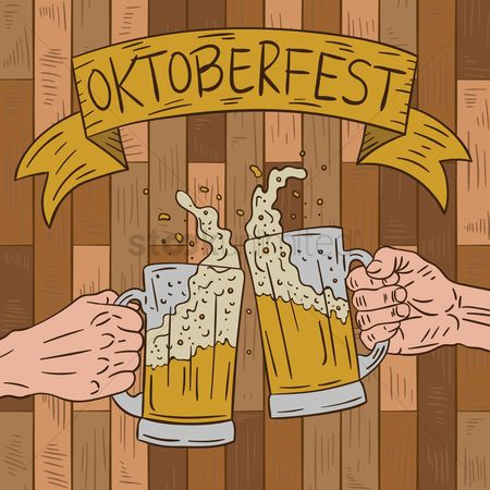 Beer : Oktoberfest background with beer