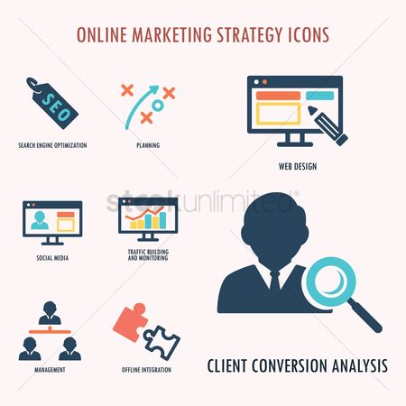 Magnifying : Online marketing strategy icons