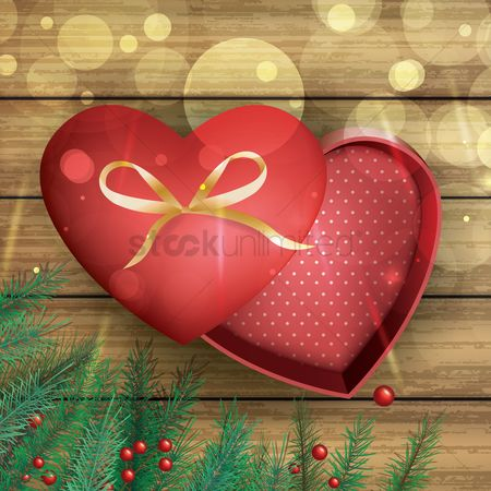 Red : Opened gift box on wooden background