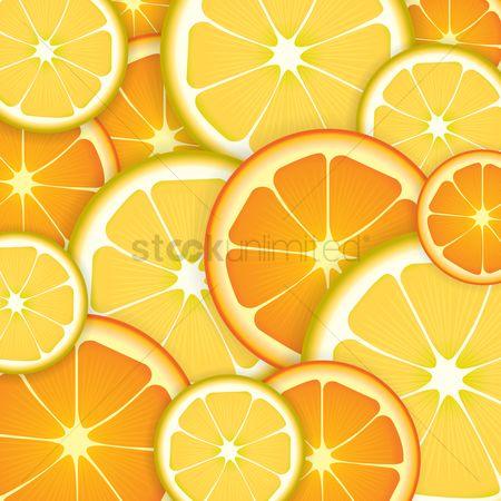 Fruit : Orange and lemon slices background